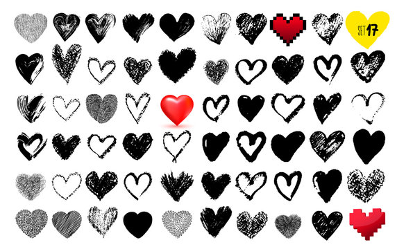 Big set of hand drawn hearts. Red color. Freehand drawing. Vector illustration. Isolated on white background