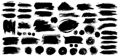 Collection of black paint, ink brush strokes, brushes, lines, grungy. Dirty artistic design elements, boxes, frames. Vector illustration. Isolated on white background. Freehand drawing