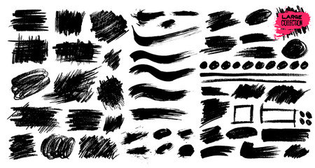 Large collection of black paint, ink brush strokes, brushes, lines, grungy. Dirty artistic design elements, boxes, frames. Vector illustration. Isolated on white background. Freehand drawing