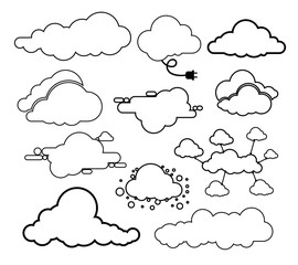 Set of clouds line art icon. Storage solution element, databases, networking. Software image, cloud and meteorology concept. Vector illustration. Isolated on white background