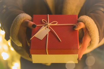 Female hands holding a present