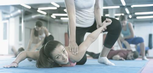 Ordinary female are training self-defence moves