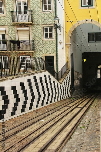 Bica Elevator Rails In Lisbon Stock Photo And Royalty Free Images