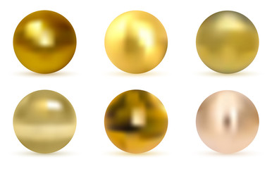 Vector golden ball. Realistic gold sphere.