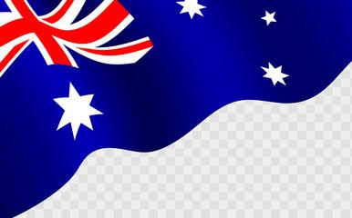 waving Australian flag against transparentbackground