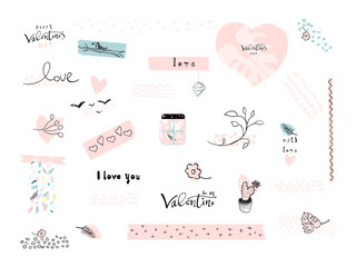 Valentine s Day Set of Lovely Abstract Hand Drawn decorative elements. Trendy doodle creative items design for greeting cards, stickers, posters, invitations, gift tags, wedding, birthday. Vector