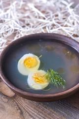Bowl of chicken stock