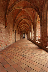 Cloister of the former Cistercian Monastery in Chorin, Germany with red Bricks