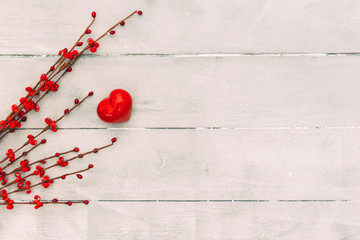 Valentine's day concept, red heart on wooden background. copy space top view. Happy Valentines Day scene