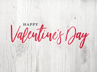 Happy Valentine's Day Holiday Red Calligraphy Over Rustic Whitewashed Wood Background