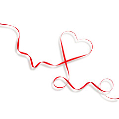 Red Heart Ribbon white background Valentines Day
