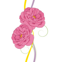 Hand-drawn background with rose flowers in cartoon style. A sweet and gentle element for design, scrapbooking, postcards, children's books, invitations, congratulations.