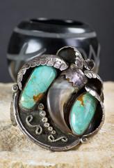 Antique Navajo Silver Bear Cuff.