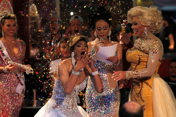 """Mendoza reacts as she is announced winner of the beauty contest """"Mrs Colombia,"""" in Medellin"""