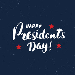 Happy President's Day Vintage USA greeting card, United States of America celebration. Hand lettering, american holiday grunge textured retro design vector illustration.