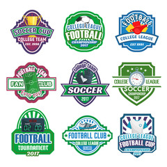 Vector icons for soccer club football league team