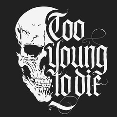 Skull t-shirt with Gothic lettering, Hand drawn Detailed sketchy t-shirt design. Vector