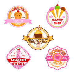 Sweet dessets vector icons for candy shop
