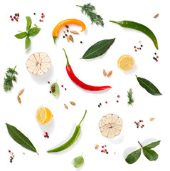 Wall Mural -  Colorful spices and herbs, above view.