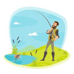 Vector fisherman fishing and fish catch at lake
