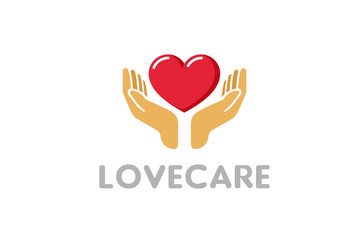 Love Giving Heart Love Hands Holding Logo Design Symbol Illustration