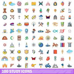 100 study icons set, cartoon style