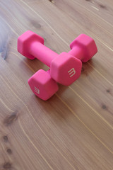 Pair of pink light weight dumbells in a crossed position on a light wood background, copy space, vertical aspect