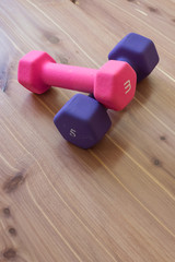 Pink and purple hand weights barbells on wood grain background, copy space, vertical aspect