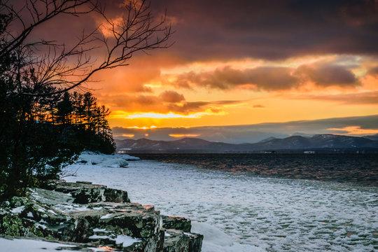 Winter Sunset over Lake Champlain