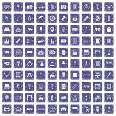 100 mirror icons set grunge sapphire