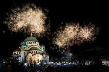 Belgrade, Serbia,Europe - January 14, 2018: Orthodox New Year's Eve celebration whit fireworks over the Church of Saint Sava at midnight in Belgrade, Serbia on January 14, 2018