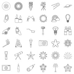 Light icons set, outline style