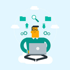 Young caucasian white businessman sitting on the cloud and working on a laptop. Businessman using cloud computing technologies. Concept of cloud computing. Vector cartoon illustration. Square layout.