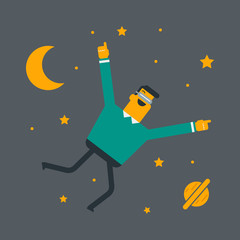 Young caucasian white gamer wearing futuristic virtual reality headset and flying in open space with planet and stars. Happy man playing virtual game. Vector cartoon illustration. Square layout.