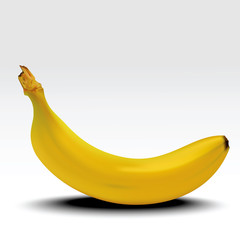 Banana. Ripe banana with shadow isolated on white background. Realistic vector illustration