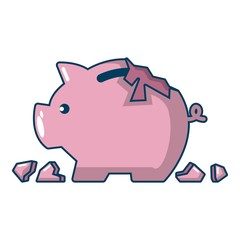 Broken piggy bank icon, cartoon style