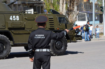 Kazakhstan military police during parade.V-day celebration.Sary Shagan.Former Soviet anti-ballistic missile testing range.West Bank of Balkhash Lake