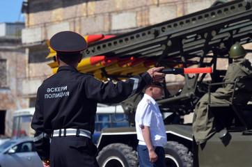 Kazakhstan military police during parade.V-day celebration.Sary Shagan.Former Soviet anti-ballistic missile testing range.West Bank of Balkhash Lake