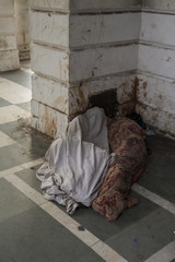 sleep in city corner