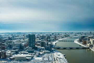大雪の新潟市内の展望