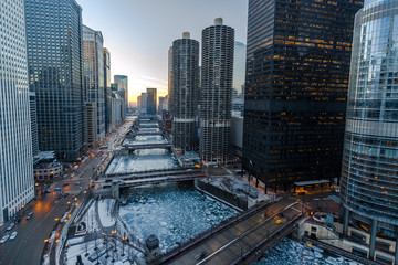 Keuken foto achterwand Chicago Chicago downtown river bridges and buildings skyline