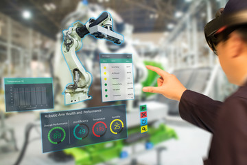 iot industry 4.0 concept,industrial engineer(blurred) using smart glasses with augmented mixed with virtual reality technology to monitoring machine in real time.Smart factory use Automation robot arm Wall mural
