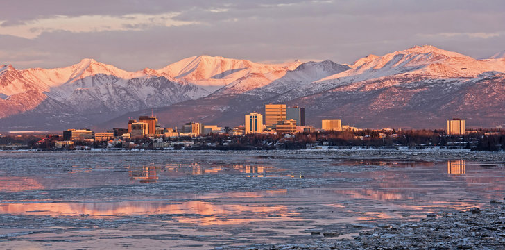 Anchorage Skyline as the Sun Sets