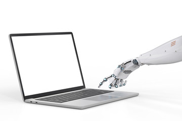 robot working with laptop