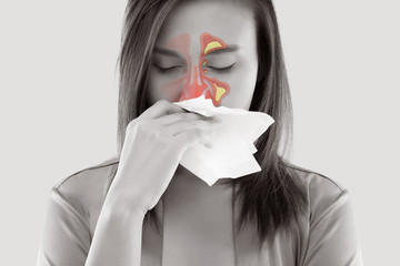 Women Feeling Unwell And Sinus
