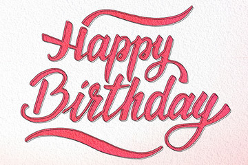 Happy Birthday creative brush lettering on concrete wall texture