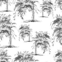 Watercolor seamless pattern, background with vintage pattern. black and white bush, tree, beautiful landscape.  On a white background. Stylish fashion illustration.