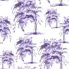 Watercolor seamless pattern, background with vintage pattern. purple, blue bush, tree, beautiful landscape in purple, blue  color. On a white background. Stylish fashion illustration.