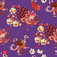 Seamless animal print for fabric in ethnic style. Fantasy birds isolated on lilac background. Vector summer design.