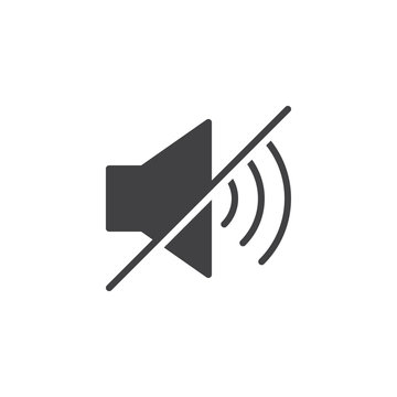 Mute sound icon vector, filled flat sign, solid pictogram isolated on white. Speaker mute symbol, logo illustration.